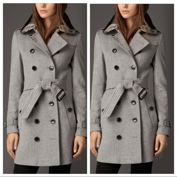 Burberry wool cashmere trench coat with fur collar